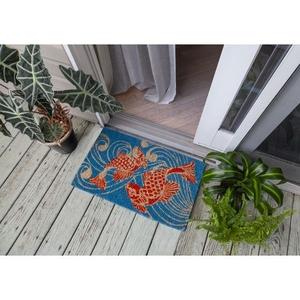 Koi Fish Handwoven Coconut Fiber Doormat