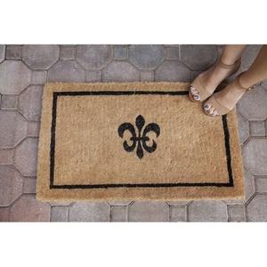 Black Fleur de Lis 18x30 Extra - Thick Handwoven Coconut Fiber Doormat
