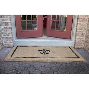 Black Fleur de Lis 36x72 Extra - Thick Handwoven Coconut Fiber Doormat