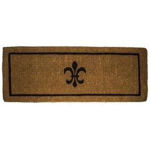 Black Fleur de Lis 18x47 Extra - Thick Handwoven Coconut Fiber Doormat