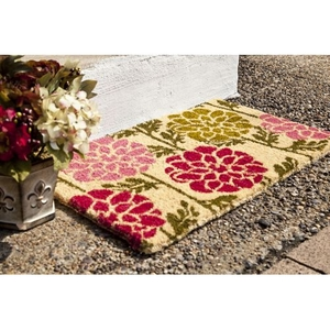 Dahlias Handwoven Coconut Fiber Doormat