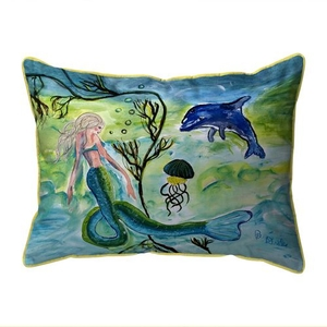 Mermaid & Jellyfish Large Indoor/Outdoor Pillow 16x20