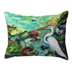 Egret  & Waterlilies Small Noncorded Pillow 11x14