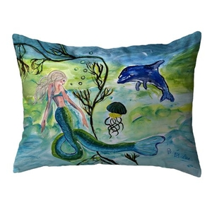 Mermaid & Jellyfish Large Noncorded Pillow 16x20