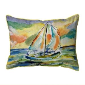 Orange Sailboat Small Indoor/Outdoor Pillow 11x14