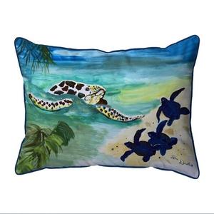 Sea Turtle & Babies Small Indoor/Outdoor Pillow 11x14