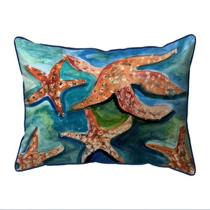 Swimming Starfish Small Indoor/Outdoor Pillow 11x14