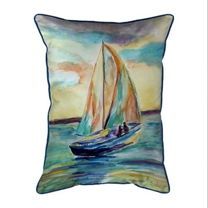Teal Sailboat Small Indoor/Outdoor Pillow 11x14