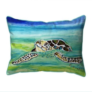 Sea Turtle Surfacing Small Indoor/Outdoor Pillow 11x14