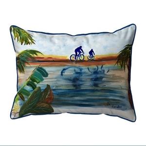 Two Bikers Small Indoor/Outdoor Pillow 11x14