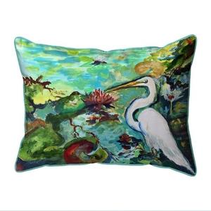 Egret  & Waterlilies Extra Large Zippered Indoor/Outdoor Pillow 20x24