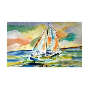 Orange Sailboat Large Door Mat