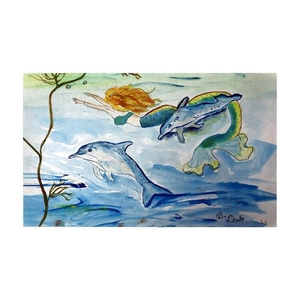 Mermaid and Dolphins Large Door Mat