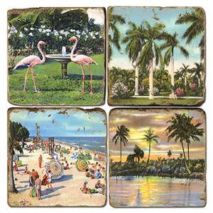 Florida Beach Marble Coasters