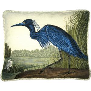 Blue Indiana Heron I Petit Point Pillow