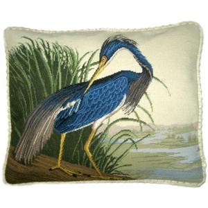 Blue Indiana Heron Ii Petit Point Pillow