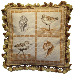 Brown Birds And Shells Needlepoint Pillow