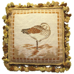 Sea Bird Standing On One Foot Needlepoint Pillow