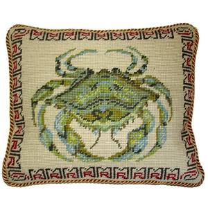 Green Crab Needlepoint Pillow