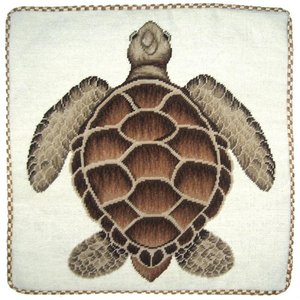 Brown Turtle Needlepoint Pillow