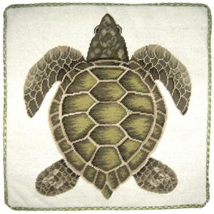 Green Turtle Needlepoint Pillow