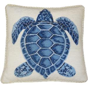 Dark Blue Turtle Needlepoint Pillow