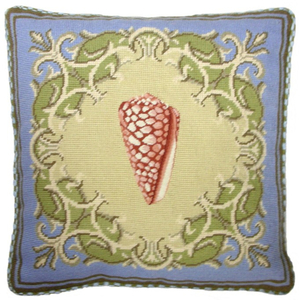 Red Shell Needlepoint Pillow