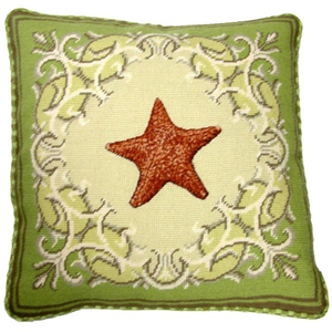 Seastar Needlepoint Pillow