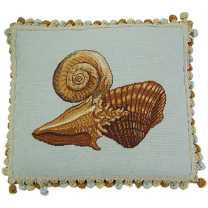 Mixed Shell Needlepoint Pillow