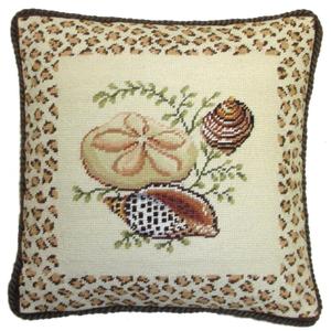 Light Flat Sea Shells Needlepoint Pillow