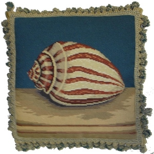 Tiger Shell Needlepoint Pillow