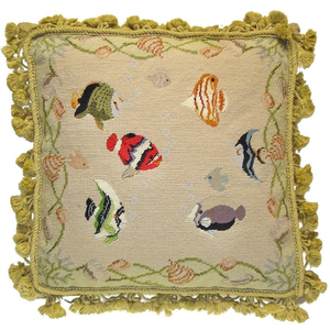 Fishes II Needlepoint Pillow
