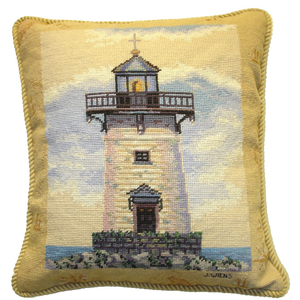 Lighthouse I Petit Point Pillow