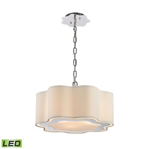 Villoy 3 Light Led Drum Pendant In Polished Stainless Steel And Nickel