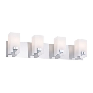 Gemelo 4 Light Vanity In Chrome And White Opal Glass