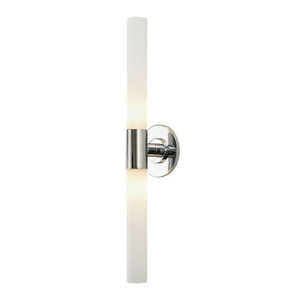 Long Cylinder 2 Light Vanity In Chrome And White Opal Glass