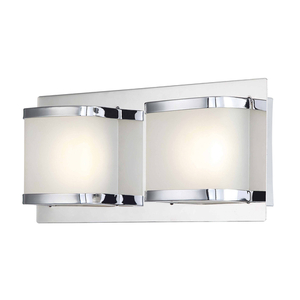 Beach Glass Vanity Light : Bandeaux 2 Light LED Vanity In Chrome And Opal Glass