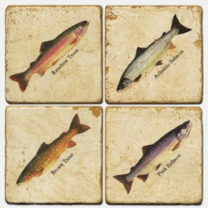 Four Fishes Italian Marble Coasters
