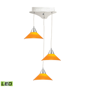 Cono 3 Light LED Pendant In Chrome With Yellow Glass